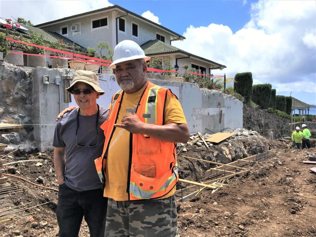 Mike Lau and Solomon Manupule at building site in east Honolulu
